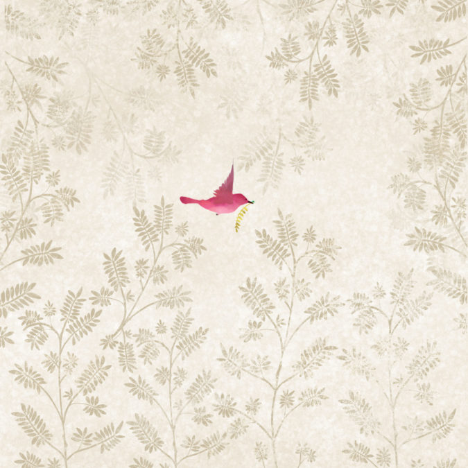 Wallpaper Trees Pink Bird Scaled